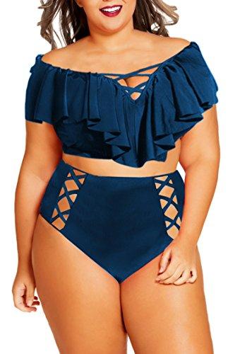 Kisscy Women's Plus Size Hollow Out Ruffles High Waisted Bikini Swimsuit Navy (Xxxl Suits)