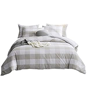 Merryfeel 100% Cotton Yarn Dyed Duvet Cover Set - Full/Queen Linen