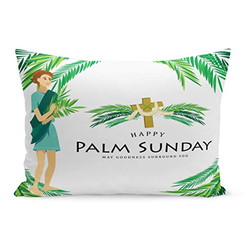Emvency Throw Pillow Covers Religion Holiday Palm Sunday Before Easter Celebration of The Pillow Case Cushion Cover Lumbar Pillowcase Decoration for Couch Sofa Bedding Car Home Decor 20 x 30 inchs
