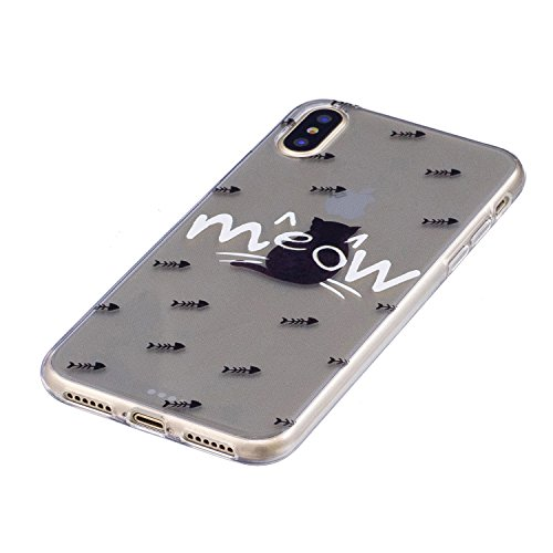 iPhone X Hülle Miauen Premium Handy Tasche Schutz Transparent Schale Für Apple iPhone X / iPhone 10 (2017) 5.8 Zoll + Zwei Geschenk