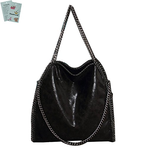 Inspired Black Purse (Donalworld Lady Chain Paillette Large Casual Tote PU Leather Shoulder Bag)