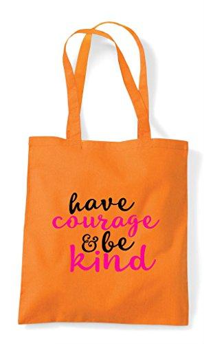Orange Courage Kind Tote Bag Be Shopper Statement Have URw0qTR
