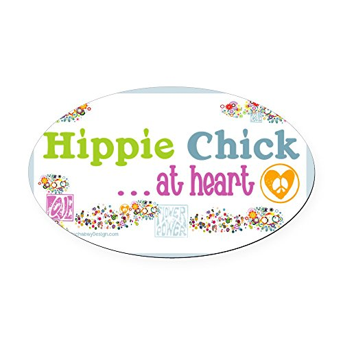 (CafePress - 20x12poster-hippie-chick Oval Car Magnet - Oval Car Magnet, Euro Oval Magnetic Bumper Sticker )