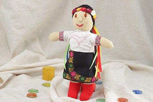 Handmade Soft Doll Knitted Of Acrylic Threads Ukrainian Girl In National (Ukrainian National Costumes)