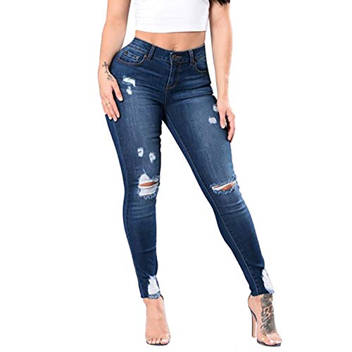 (TIMEMEANS Fashion Jeans Womens Denim Hole Mid Waist Stretch Sexy Pencil Pants)