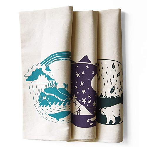 Set of 3 Explorer Bundle Pack Kitchen Tea Towels: Pacific, Southwest, Atlantic