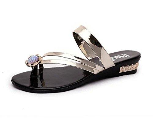 zapatos casuales de playa sandalias de tiras estudiantes con diamantes de imitación zapatos planos flip Gold