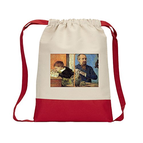 Son Portrait - Portrait Of With Son (Gauguin) Canvas Backpack Color Drawstring Bag - Red