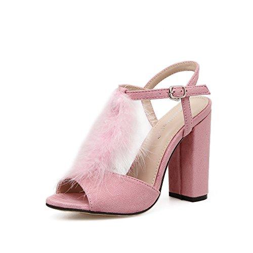 ZHZNVX La nueva primavera y verano sandalias de tacón alto grueso con los zapatos de tacón alto pink