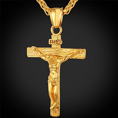 Stainless Steel Yellow Gold Plated INRI Jesus Piece Cross Pendant & Necklace Chain For Men Gift Vintage Christian Jewelry (Fashion Pendant Platinum Metal)