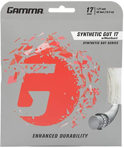 Gamma Synthetic Gut 17G Tennis String With Wearguard, White