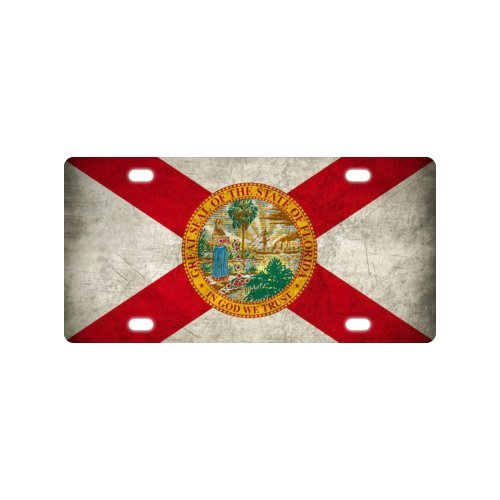 Car Tag with Florida Flag Image Metal License Plate of Car - 6 X 12 inch Florida Flag License Plate