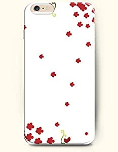 iPhone 6 Plus Case 5.5 Inches Bright Red Small Flowers - Hard Back Plastic Case OOFIT Authentic