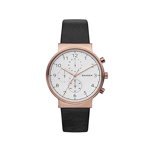 Skagen Men's SKW6371 Ancher Black Leather Chronograph Watch