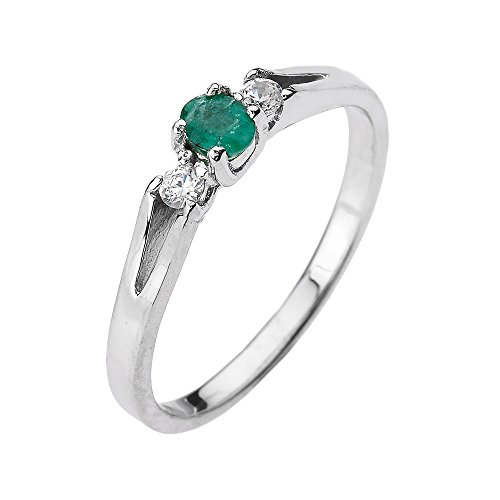 Solid 14k White Gold Diamond with Emerald Proposal and Birthstone Ring (Size 7.75) Diamond Solid Gold Ring