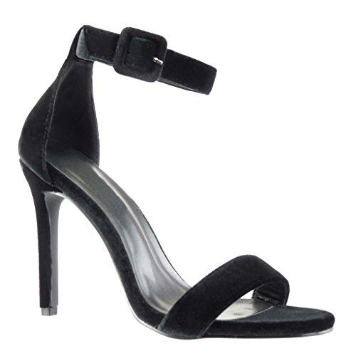 Angkorly - Zapatillas de Moda Tacón escarpín Sandalias stiletto sexy mujer tanga Talón Tacón de aguja alto 11 CM - Negro