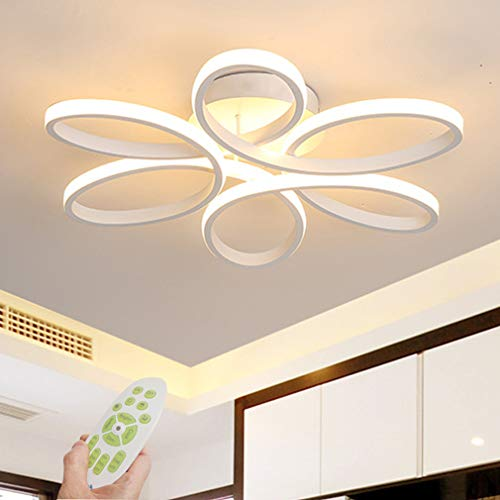 LED Ceiling Light Fixture Dimmable Modern Flush Mount LED Ceiling Lighting Chandelier with Remote Metal Acrylic Creative Geometric Design Living Dining Room Bedroom Kitchen Island Lamp (White) (White Bedroom Chandelier)