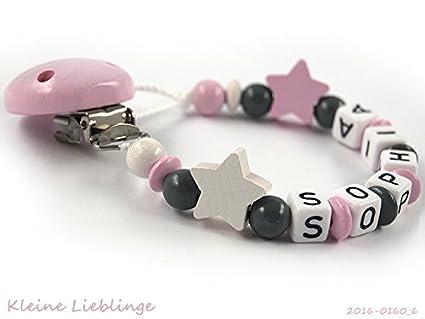 rosa wei/ß grau f/ür M/ädchen 3 Buchstaben Schnullerkette mit Namen f/ür M/ädchen mit 2 Sternen