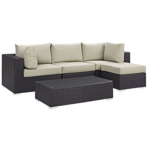 (Modway Convene Wicker Rattan 5-Piece Outdoor Patio Sectional Sofa Furniture Set in Espresso Beige)