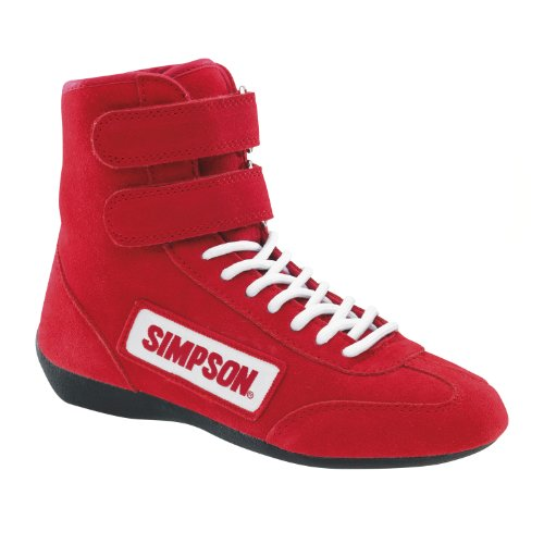 10 Approved Shoes 28100BK Red Simpson Size Black SFI Racing Hightop Driving The fF4YZ