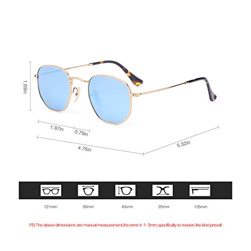 (2020Ventiventi AK17033 Fashion Shiny Gold Frame/Ice Blue Revo Lens Pentagon 50mm Polarized Stainless Steel Sunglasses)