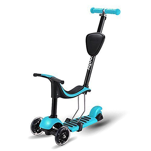 DraWaoy 4-in-1 Kick Scooter for Kids Aged 1-6, with Removable Seat, Adjustable Handlebar and LED Flashing wheels(Blue)