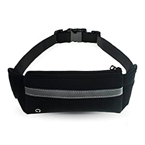Refoss Running Waist Pack, Water Resistant Fanny Pack, Expandable Sport Belt with Water Bottle Holder, Great for Biking, Hiking, Travel and Outdoor Activities (Black)