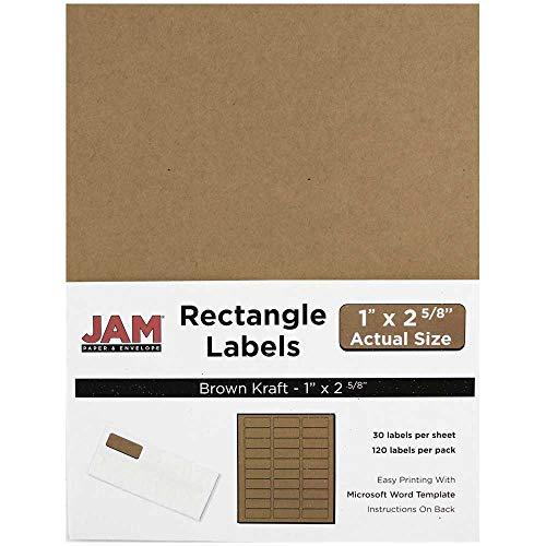 JAM PAPER Shipping Address Labels - Standard Mailing - 1 x 2 5/8 - Brown Kraft - 120/Pack
