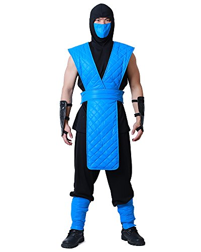 Miccostumes Men's Sub-Zero Cosplay Costume (Men l) Blue -