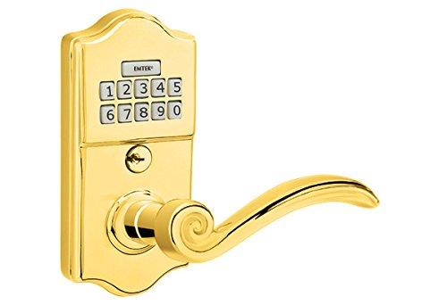 Emtek E2000 American Heritage Classic Brass Leverset keypad 3 finish options and 11 lever options (Indicate Left or Right Handed) (Elan Lever, Polished Brass (US3)) (Brass Elan Emtek)