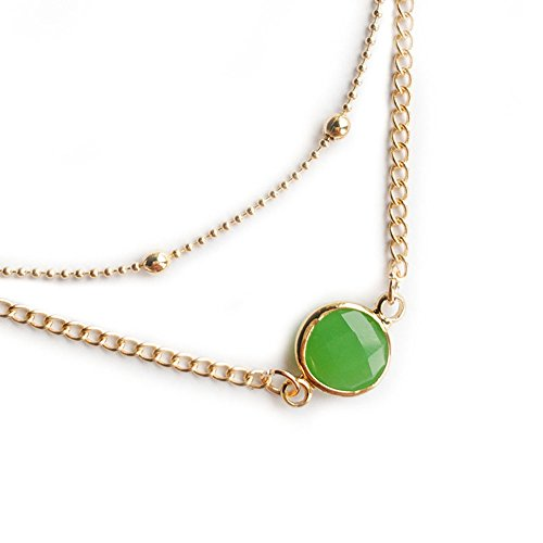 MYANAIL Round Crystal Double Layer Choker Clavicle Necklace Jewelry for Woman (Green)