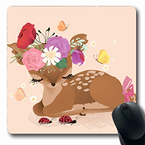 Ahawoso Mousepad Oblong 7.9x9.8 Inches Tale Enchanted Cute Woodland Forest Deer Fawn Flowers Baby Bouquet Bow Design Office Computer Laptop Notebook Mouse Pad,Non-Slip Rubber