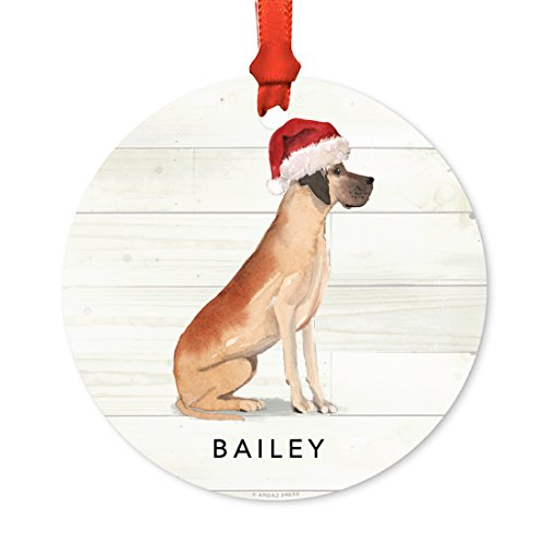 Andaz Press Personalized Animal Pet Dog Metal Christmas Ornament, Great Dane with Santa Hat, 1-Pack, Includes Ribbon and Gift Bag, Custom Name ()