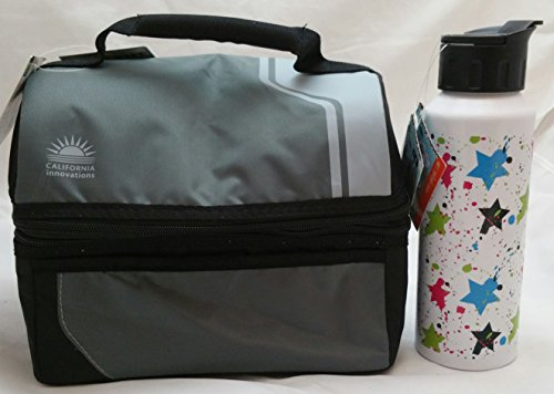 Arctic Zone Classic Lunch Bucket Gray and Black Bonus: High Quality Yak Pak 28 oz Ultra Cool Water Bottle
