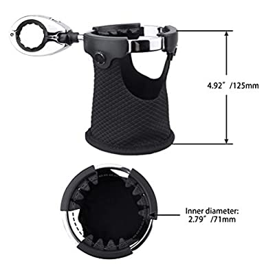 LEXIN LX-C3 Motorcycle Cup Holder with 360°swivel ball-mount, Large Handlebar Drink Holder with Basket, Metal Bike Mount for Motorcycle Passenger Fits Handlebar 0.87 inch to 1.25 inch: Automotive