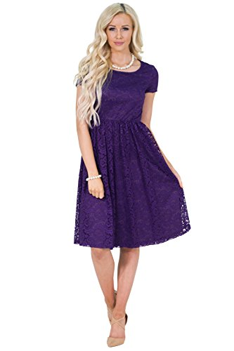 Jenna Modest Lace Dress or Bridesmaid Dress in Regency Royal Purple - S, Modest Semi-Formal or Prom Dress in -
