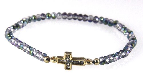 - 4030777 Iridescent Beaded Cross Stretch Bracelet Christian Fashion Scripture Religious