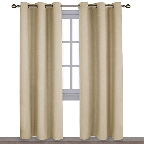 NICETOWN Thermal Insulated Eyelet Top Room Darkening Panels/Curtains / Drapes for Bedroom (2 Panels, W42 x L84 -Inch, Beige)