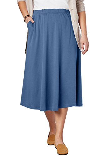 Women's Plus Size 7-Day Knit A-Line Skirt Dusty Indigo,4X