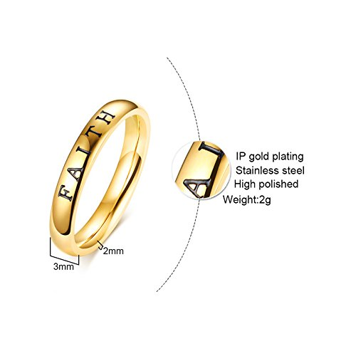 JAJAFOOK Minimalist Tri-color Stainless Steel Faith Hope Love 3 in 1 Stacking Rings for Women Girl
