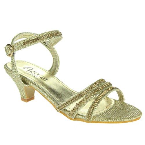 Mädchen Kinder DiamantE Offener Zeh Niedrige Ferse Fesselriemen Abend Hochzeit Party Sandale Schuhe Größe Gold