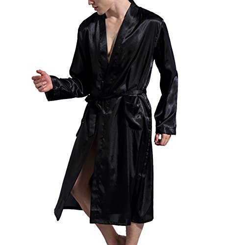 Surenow Men Night Satin Robe Pyjamas Room Bathrobe Robes Long Satin Lightweight Sleepwear Gown by Surenow