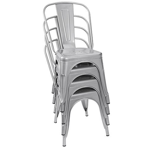 French inspired metal bistro chairs, set of 4