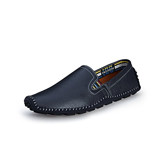 Go Tour Mens Casual Handmade Driving Shoes Slip On Loafer Dark Blue 43 Z62usF