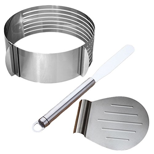 (3pcs Stainless Steel Cake Lifter Spatula and Cake Slicer Set Pizza Transfer Tray Kitchen Tools for Cakes Pizzas Pies and Cookies)