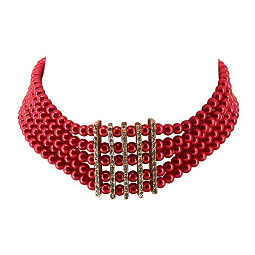 (Utop Simulated Pearl Choker Necklace for Women Bridal Wedding Pearl Statement Necklace (Red Pearl Crystal Choker))