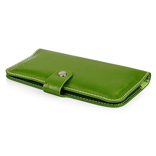 HQ Buch Tasche GRÜN Klapp Schutz Hülle Wallet Flip Case Etui für Apple Iphone 8