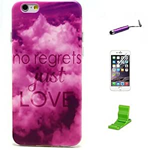 ZMY No Regerts Just Love Pattern TPU Soft with Screen Protector and Stylus for iPhone 6