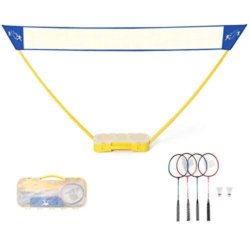 GOPLUS Portable Badminton Set Outdoor Folding Adjustable Tennis Badminton Volleyball Net 10Ft w/Stand, Carry Box (4 Player) (Best Portable Badminton Set)