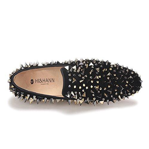 6c2bccda7081 50%OFF HI HANN Men s Suede Shoes With Gold And Black Rivet Slip-on Loafer